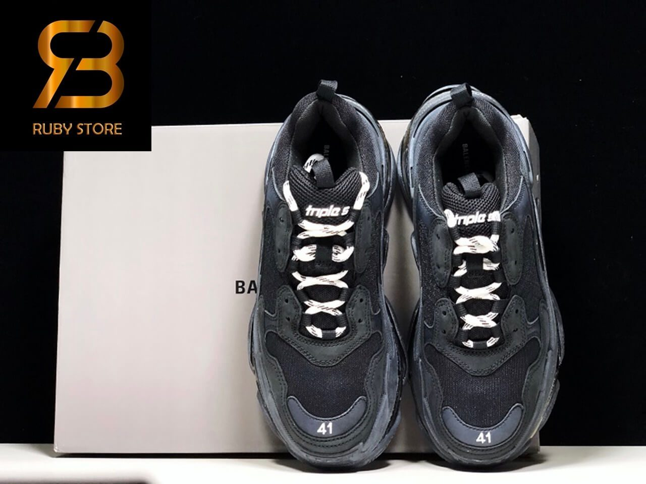 giày balenciaga triple s clear sole black replica 1:1 siêu cấp