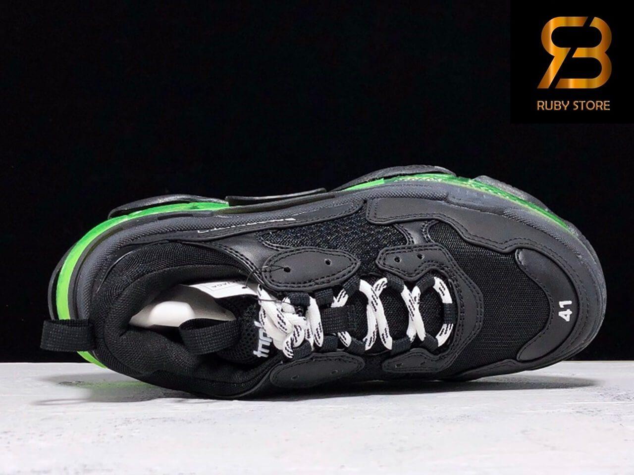 giày balenciaga triple s clear sole đen xanh siêu cấp