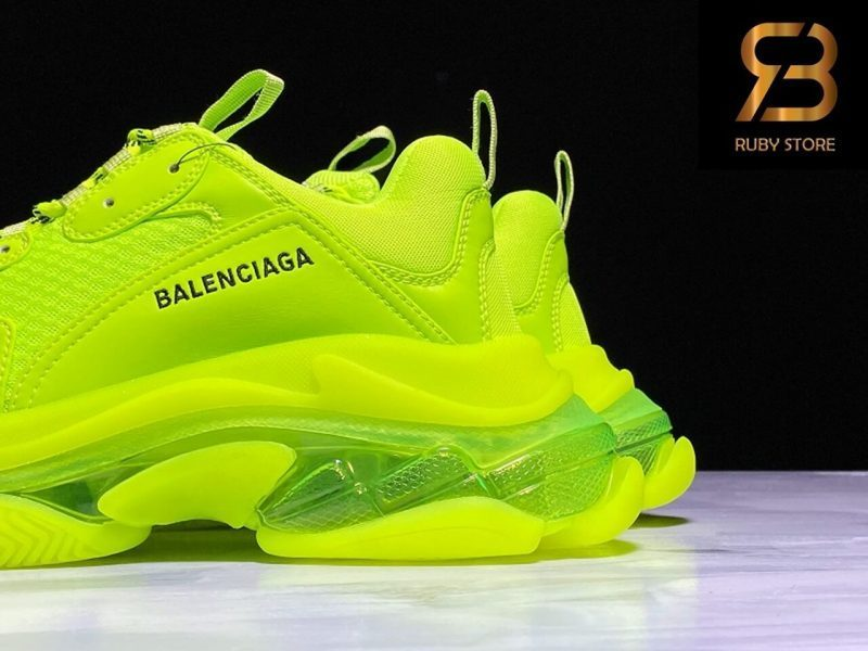 giày balenciaga triple s clear sole fluo yellow siêu cấp