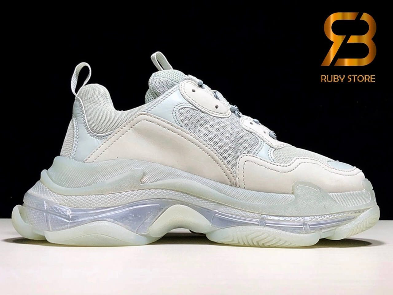 giày balenciaga triple s clear sole gray replica 1:1 siêu cấp