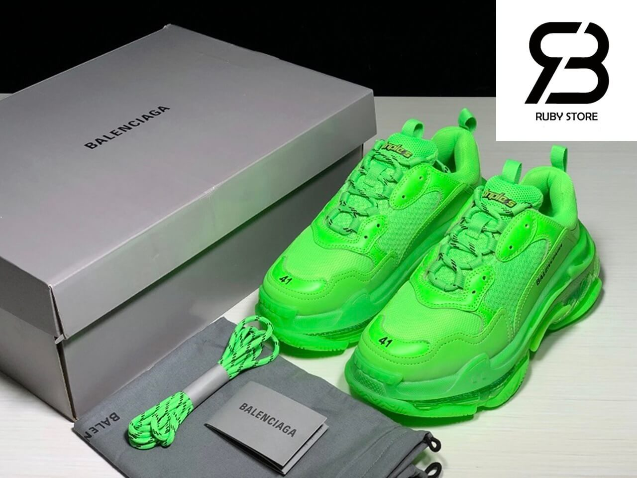 giày balenciaga triple s clear sole green replica 1:1 siêu cấp