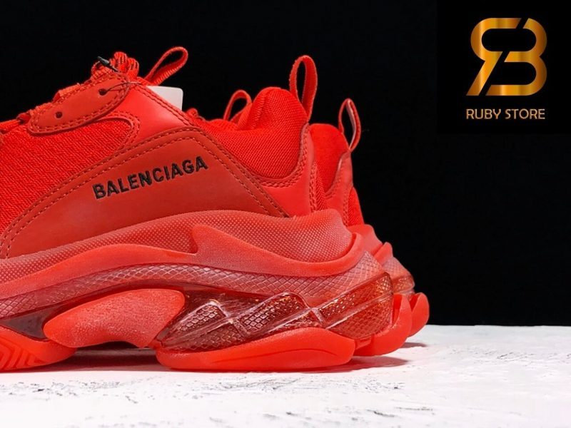 giày balenciaga triple s clear sole red replica 1:1 siêu cấp
