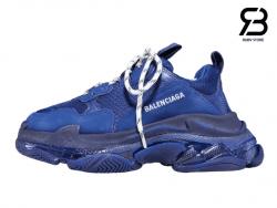 Giày Balenciaga Triple S Clear Sole xanh dương siêu cấp