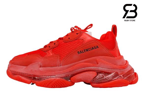Giày Balenciaga Triple S Clear Sole đỏ siêu cấp
