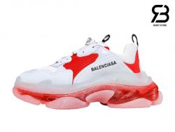 Giày Balenciaga Triple S Clear Sole trắng đỏ siêu cấp