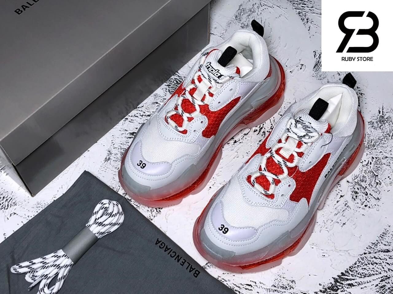 giày balenciaga triple s clear sole white red replica 1:1 siêu cấp