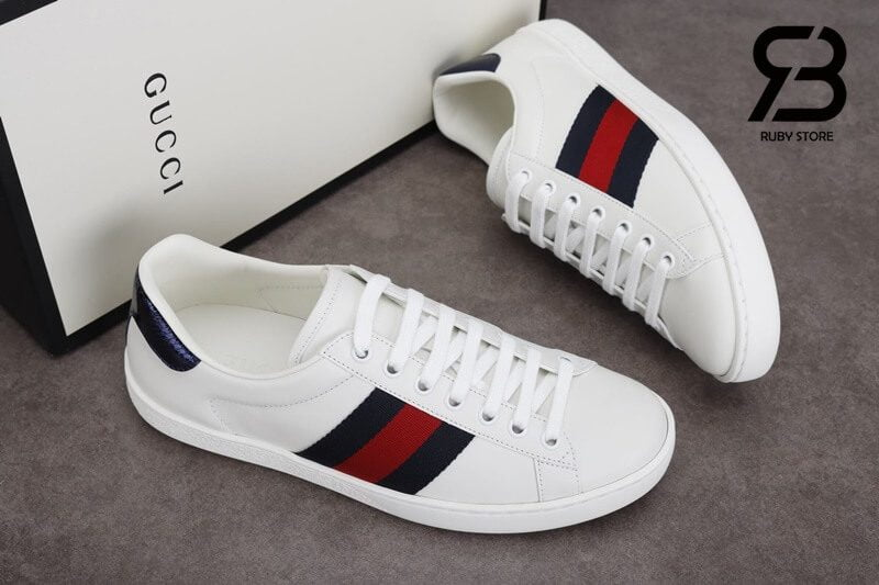 giày gucci ace leather sneaker white blue siêu cấp like authentic ở hcm