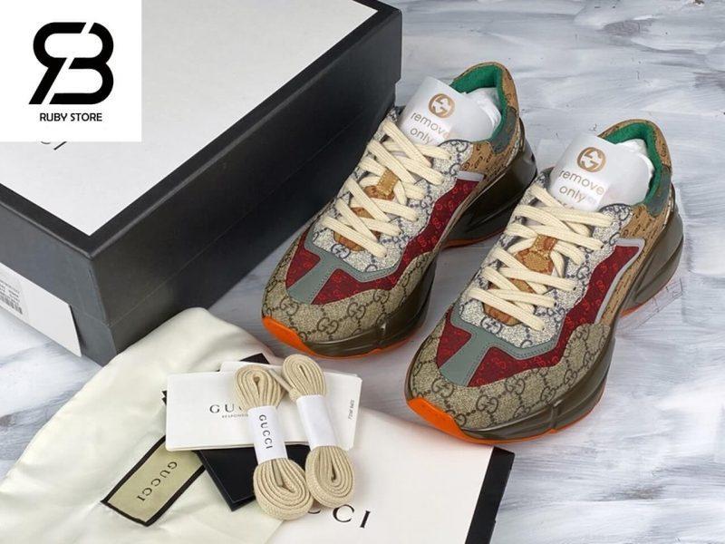 giày gucci rhyton gg brown orange siêu cấp ở hcm