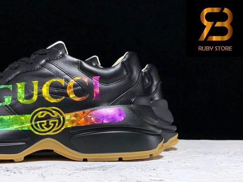 Giày Gucci Rhyton Logo Leather Sneaker Black Replica 1:1 Siêu Cấp Nhất 99,9%