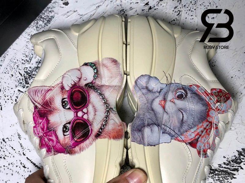 giày gucci rhyton sneaker with mystic cat white pink siêu cấp ở hồ chí minh