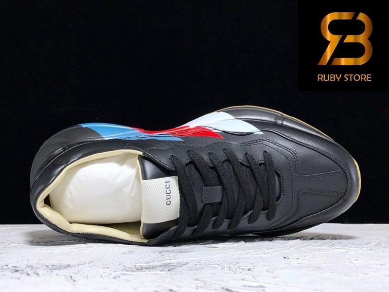 giày gucci rhyton web print leather black sneaker replica 1:1 siêu cấp 99,9%