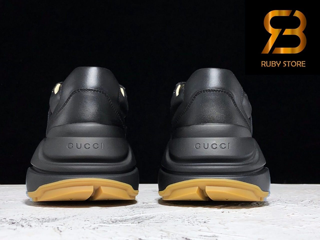 giày gucci rhyton web print leather black sneaker replica 1:1 siêu cấp 99,9%