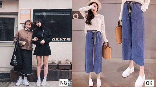 2 cô gái mặc quần ồng rộng và giày trắng