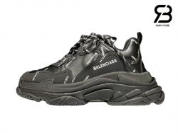 giày balenciaga triple s black allover logo siêu cấp