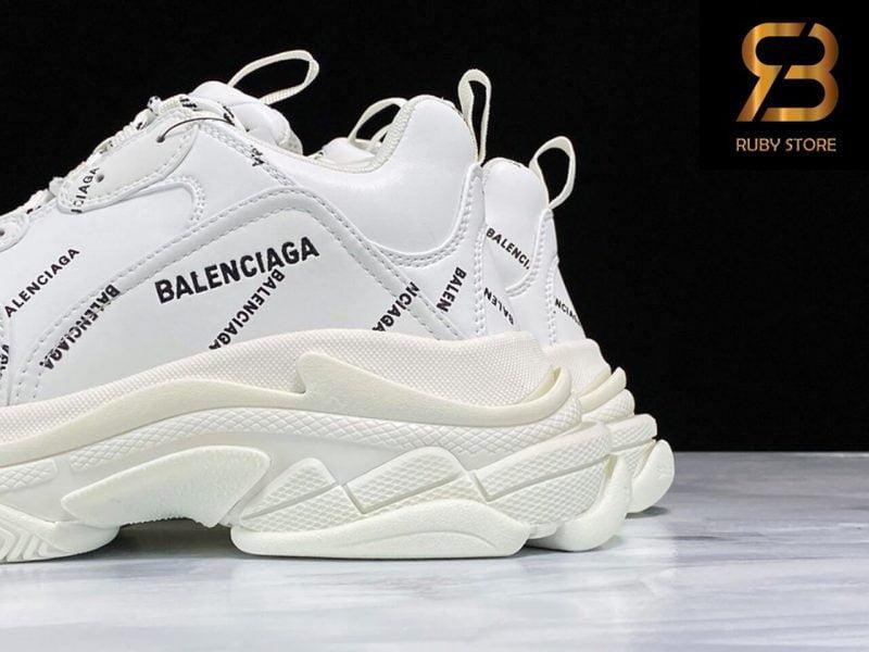 giày balenciaga triple s white allover logo siêu cấp