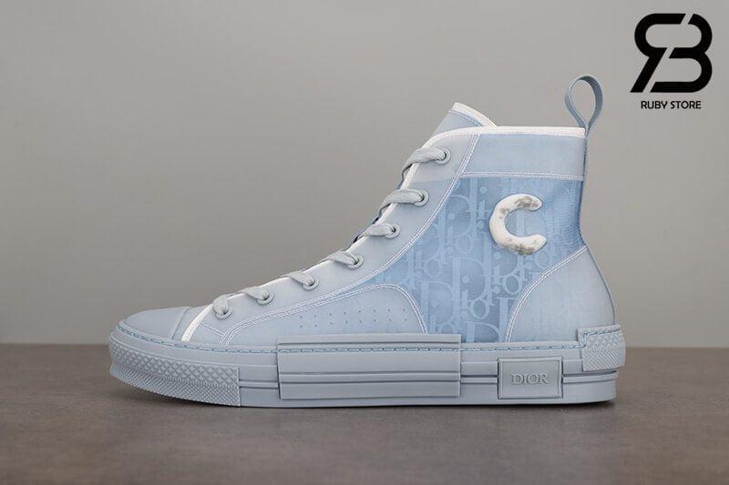 giày dior b23 and daniel arsham high top oblique canvas light blue siêu cấp