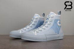 giày dior b23 and daniel arsham high top oblique canvas light blue siêu cấp