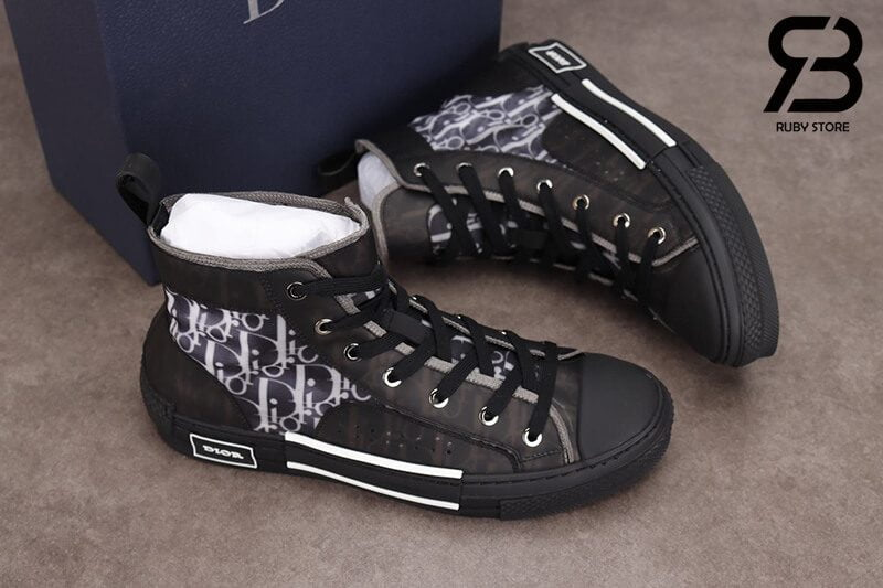 giày dior b23 high top oblique canvas black siêu cấp