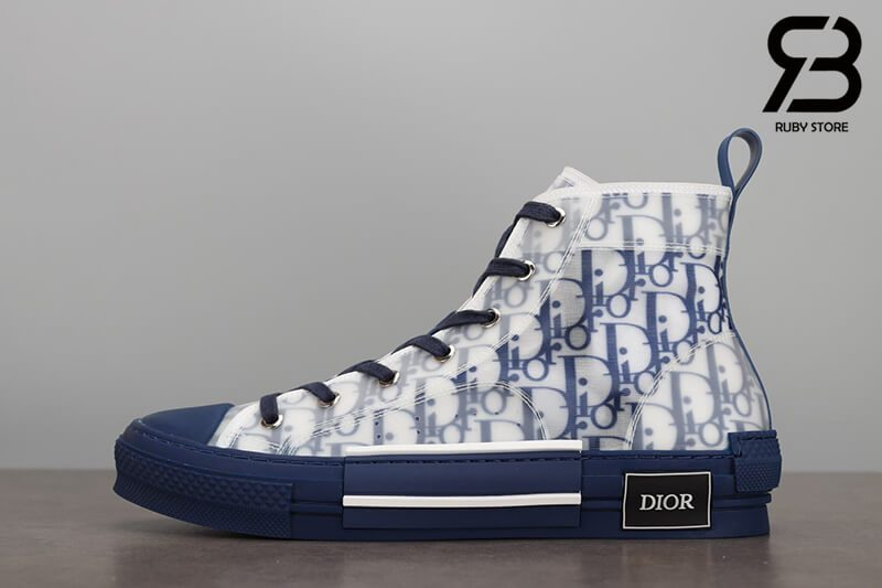 giày dior b23 high top oblique canvas blue siêu cấp