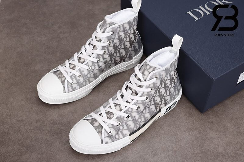 giày dior b23 high top oblique canvas white black siêu cấp