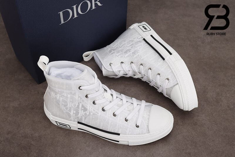 giày dior b23 hight top oblique canvas white siêu cấp