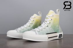 giày dior b23 high top oblique canvas yellow green siêu cấp