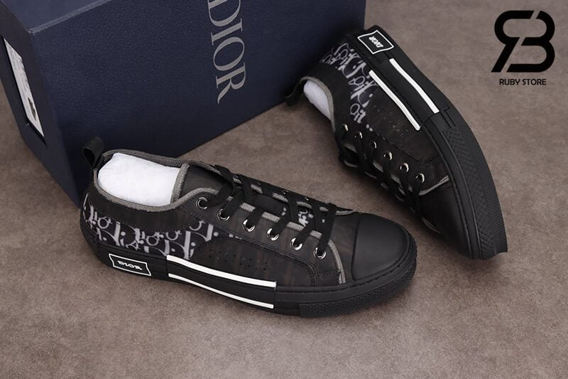 giày dior b23 low top oblique canvas black siêu cấp