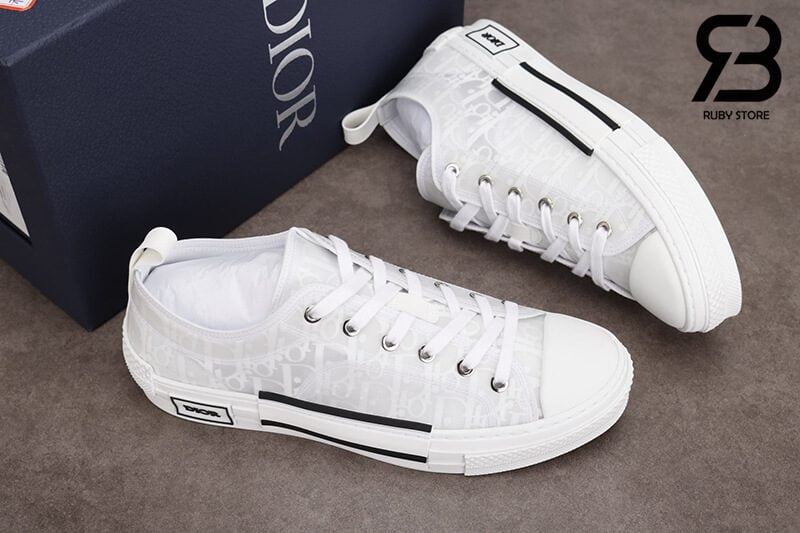 giày dior b23 low top oblique canvas white siêu cấp
