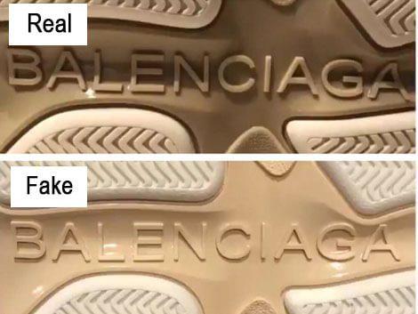 Nhận biết giày Balenciaga thật giả qua logo dưới đế