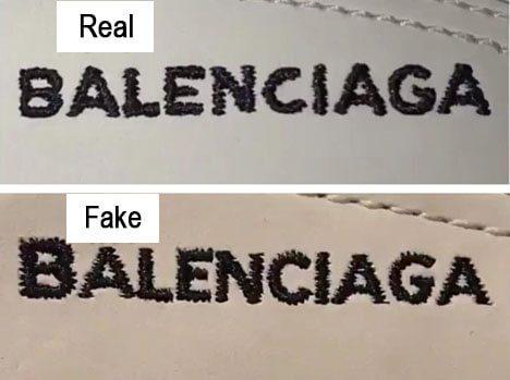 Nhận biết giày Balenciaga thật giả qua logo thêu trên thân giày