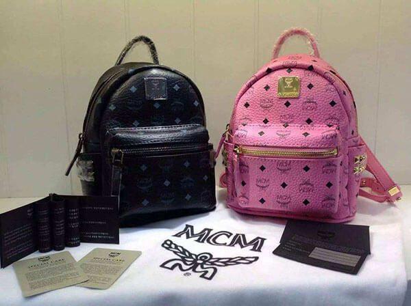 2 chiếc túi MCM auth đen và hồng