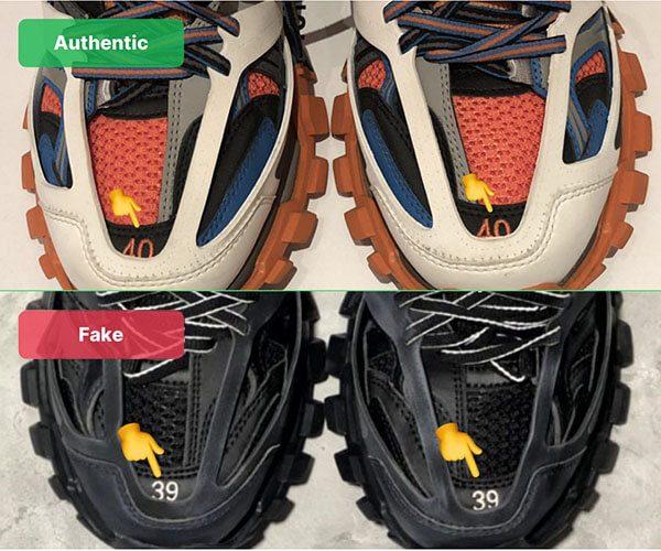 Nhận biết Balenciaga Track 3 thật giả qua size mũi giày