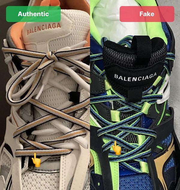 Nhận biết Balenciaga Track 3 thật giả qua dây buộc