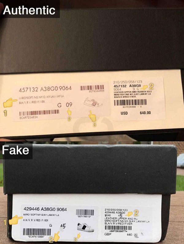Phân biệt giày Gucci real và fake qua thông số trên hộp đựng