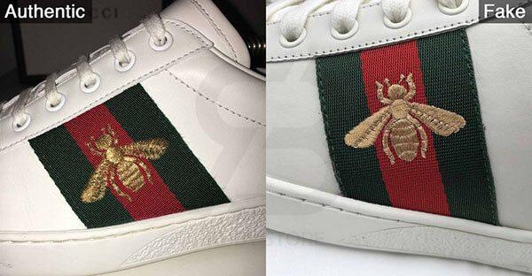Phân biệt giày Gucci real và fake qua hình thêu ong