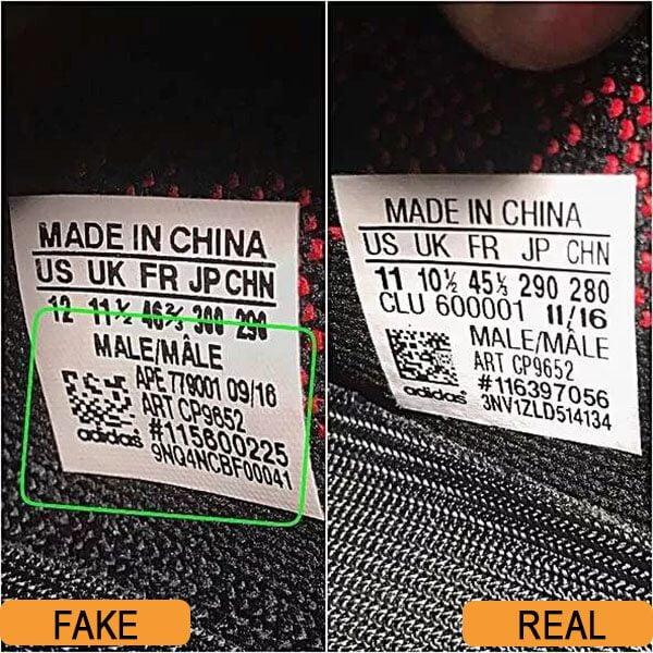 Nhãn bên trong giày Yeezy 350 real và fake
