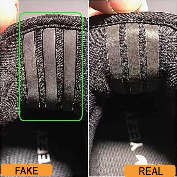 3 sọc sau gót giày Yeezy 350 real và fake
