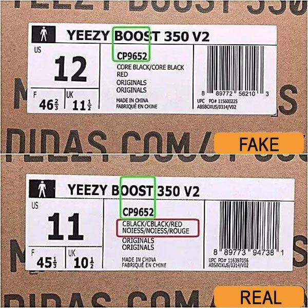 Hộp đựng giày Yeezy 350 real và fake