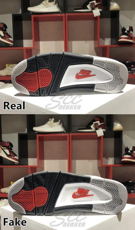 Phần đế outsole của đôi Jordan 4 Retro White Cement real và fake