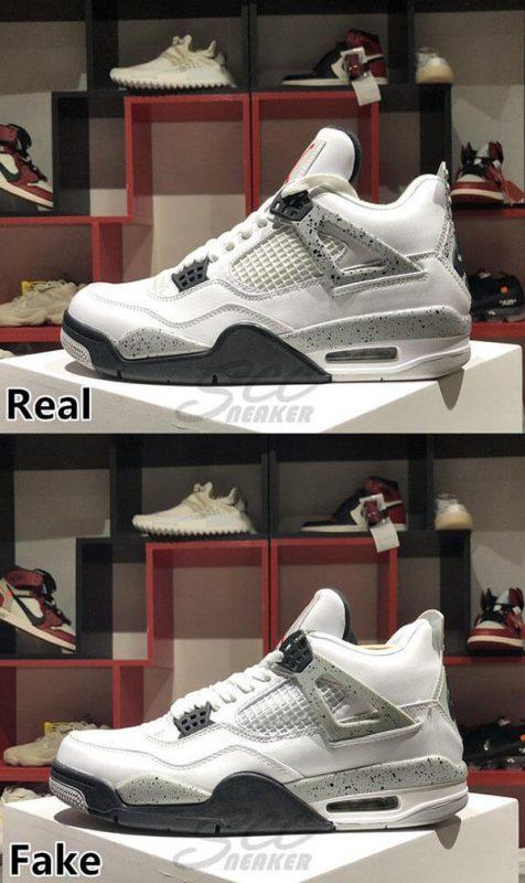 Phần upper của đôi Jordan 4 Retro White Cement real và fake