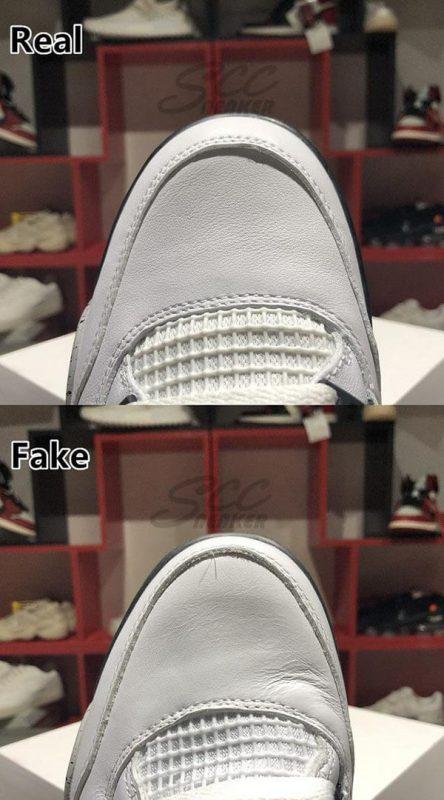 Phần mũi giày của đôi Jordan 4 Retro White Cement real và fake