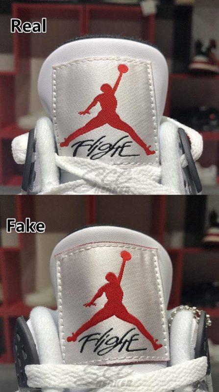 Phần lưỡi gà của đôi Jordan 4 Retro White Cement real và fake