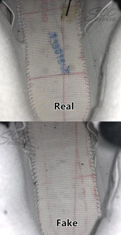 Phần đế insole của đôi Jordan 4 Retro White Cement real và fake