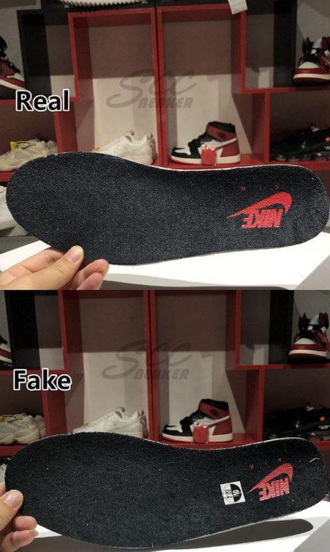Phần lớp lót của đôi Jordan 4 Retro White Cement real và fake