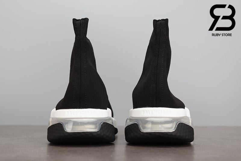 Giày Balenciaga Speed Clear Sole Trắng Đế Trắng Đen Siêu Cấp