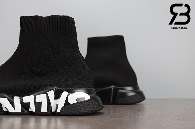 Giày Balenciaga Speed Graffiti Đế Đen Chữ Trắng Siêu Cấp