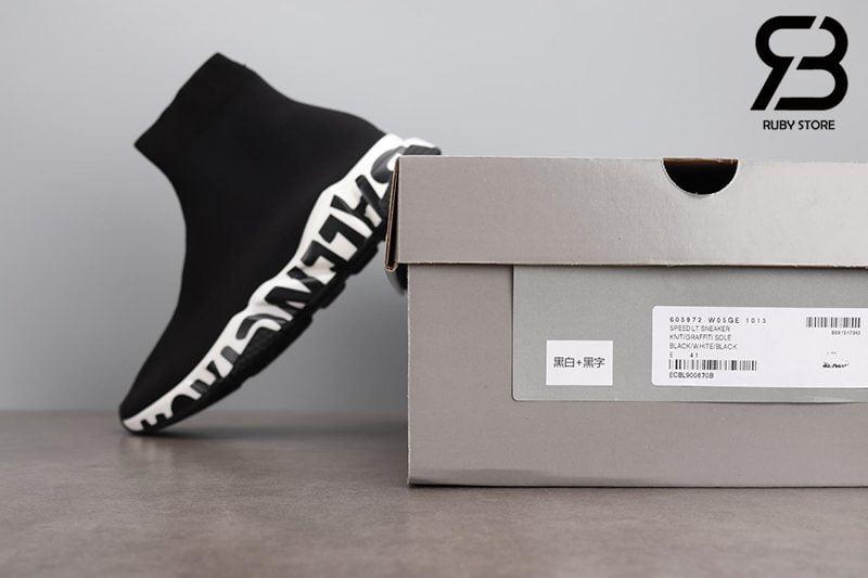 Giày Balenciaga Speed Graffiti Đế Trắng Chữ Đen Siêu Cấp