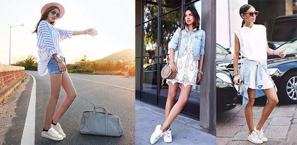 Giày mcqueen phối đồ nữ với đồ trắng với jean