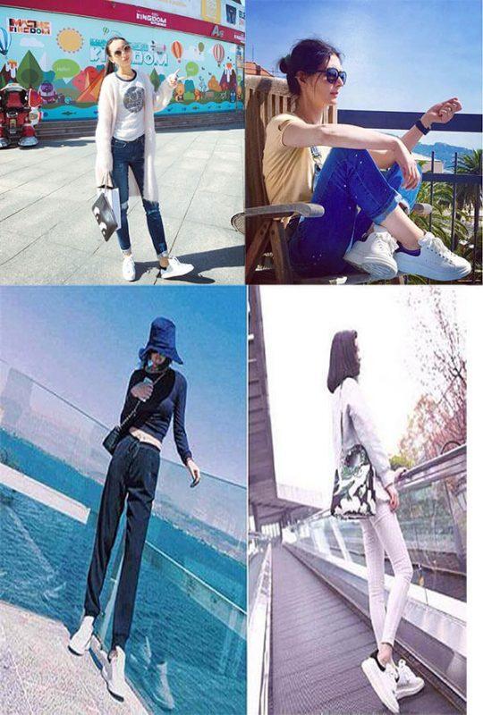 Giày mcqueen phối đồ nữ với quần jean