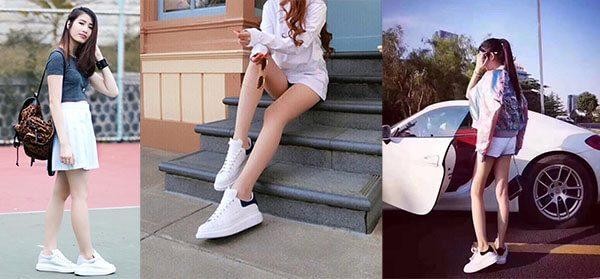 Giày mcqueen phối đồ nữ với đồ trắng